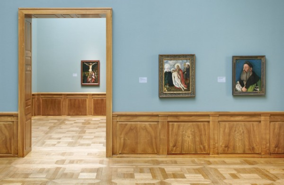 Hans Baldung, also called Grien, Portrait of Adalbert III von Bärenfels, oil on pine wood, 1526, Kunstmuseum Basel (acquired in 1910), shown on the far right of the photo, Photo: Simon Schmid, SNL.